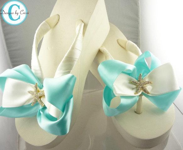Ivory Wedge Bridal Flip Flops Starfish by BridalFlipFlops on Etsy, $45.00