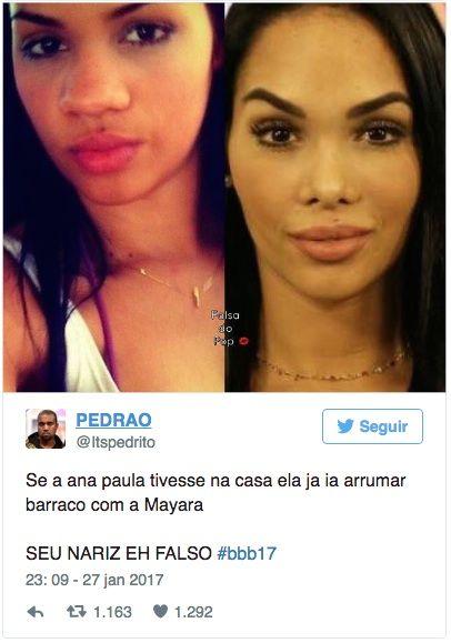 Fotos de Mayara antes de cirurgia no nariz viralizam na web