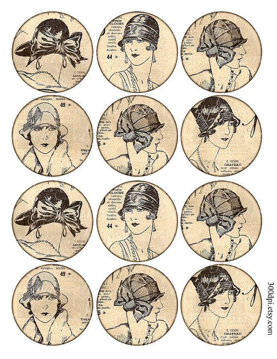 Cerchi da 2,5 pollici digitale Collage foglio stampabile Scarica vintage retrò francese moda rivista ragazze grande tondo scheda tag immagini