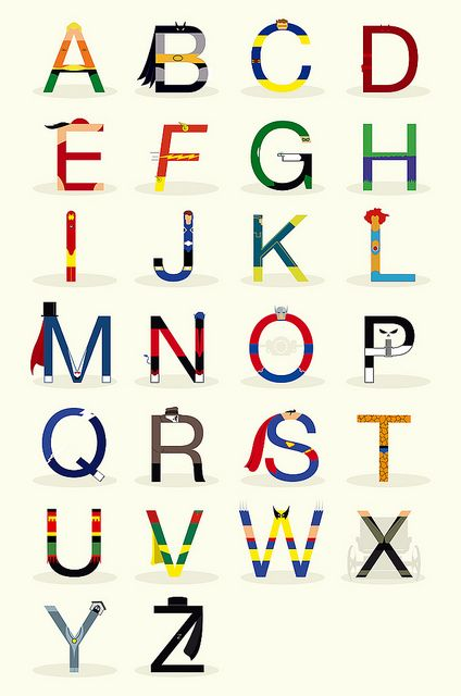 ABCs of super heros    @Kristen Bumgarner this would be cute to print for Bam's room!