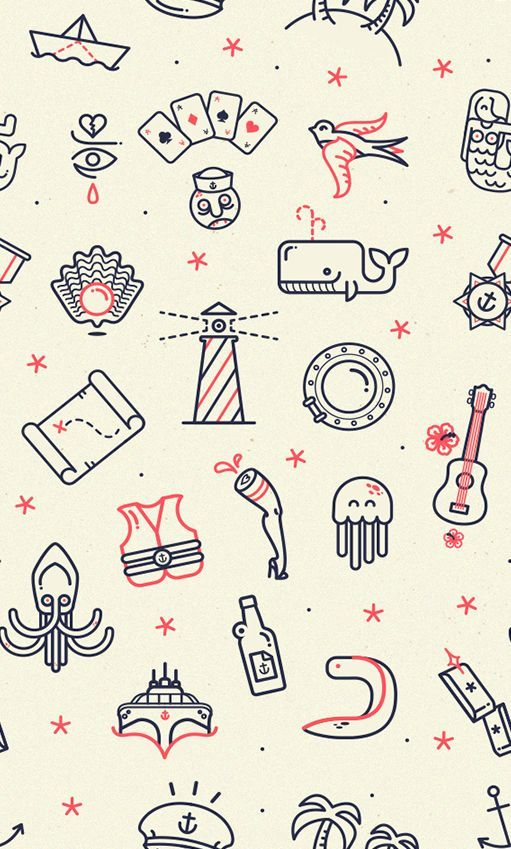 Iconography Octopus Lighthouse Whale Map Guitar Paper ship Cards Icon pattern: