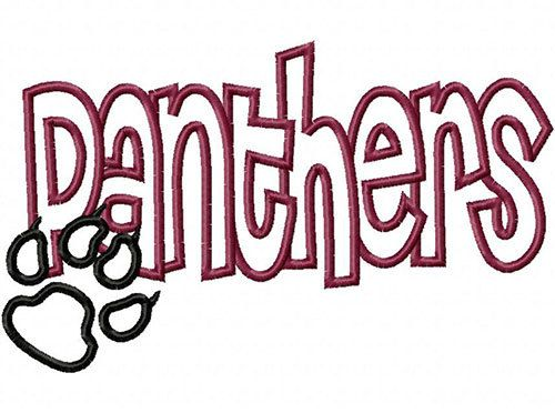 Panthers with Paw Print Embroidery Machine Applique Design 4031 INSTANT DOWNLOAD