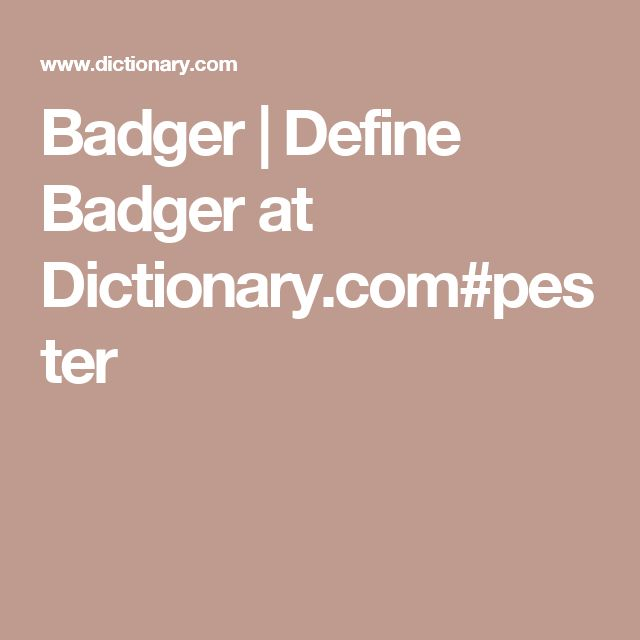 Badger | Define Badger at Dictionary.com#pester
