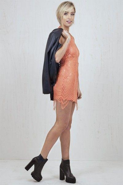 Eva Round Halterneck Lace Dress Orange   Nelly & Me