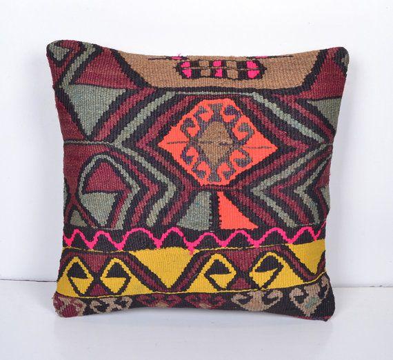 boho throw pillow primitive decor aztec decor by SandyKilimPillow