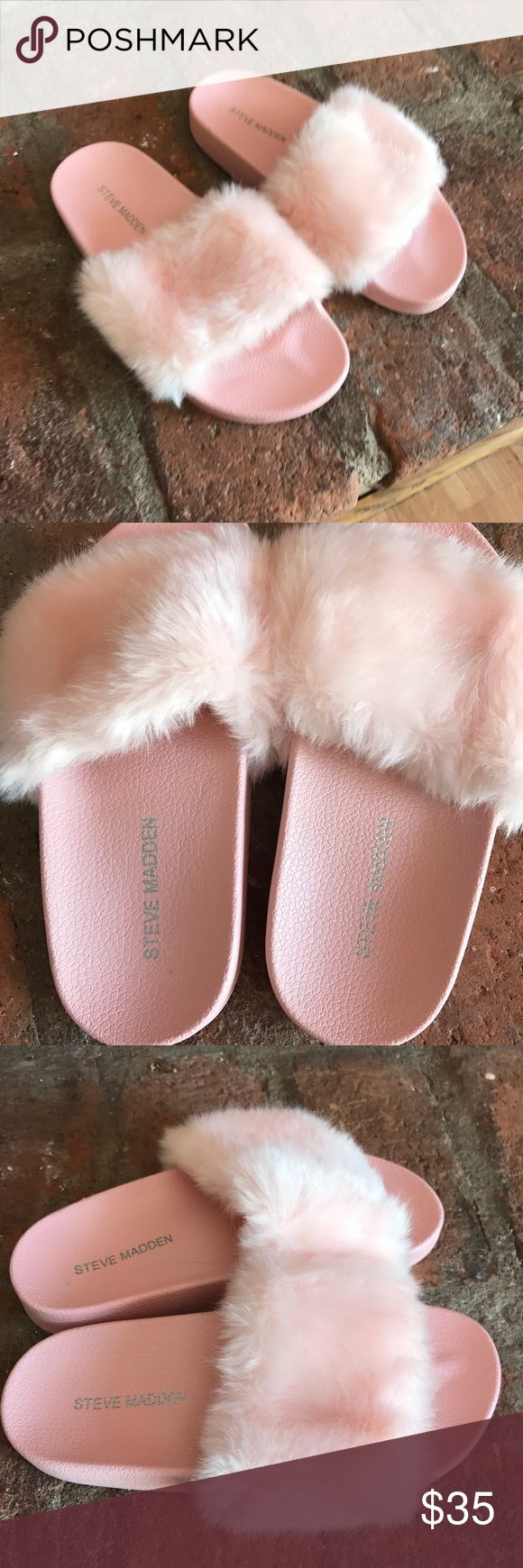 Steve Madden fuzzy slippers kids❗️ In great condition super cute kids Steve Madden slippers Steve Madden Shoes Sandals & Flip Flops