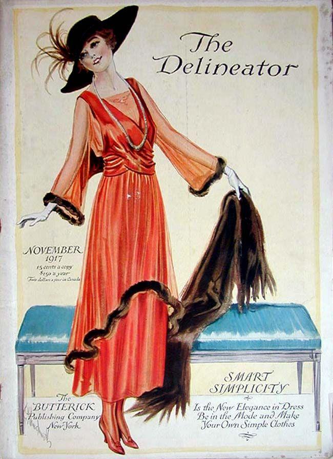 Delineator  November 1917Fashion Pattern, Vintage Fashion, Fashion Plates, Fashion Illustration, 1910S, November 1917, Vintage Magazines, Magazines Covers, Delineator Magazines