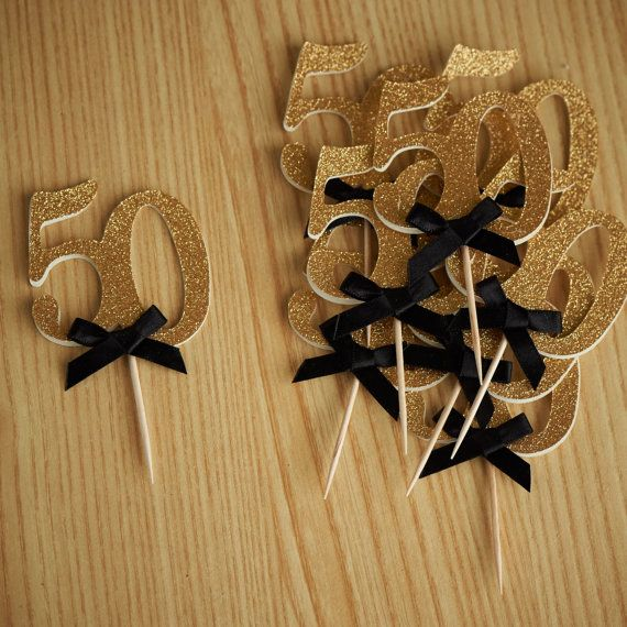 """50th Birthday Party Ideas - ships in 1-3 business days - Number """"50"""" Cupcake Toppers - Set of 12"""