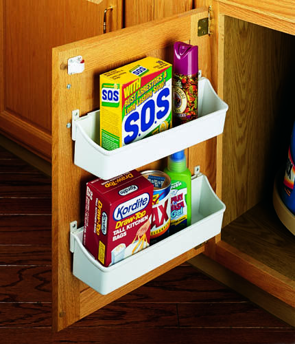 """Rev-A-Shelf 6235-08-11-52   Expand cabinet space with this handy five tray door storage set. The 6235 Series is available in three different sizes and is easy to install with screw-in clips or mount the trays to 24"""" or 58"""" standards with tray clips (sold separately). Sets are available in white or almond."""