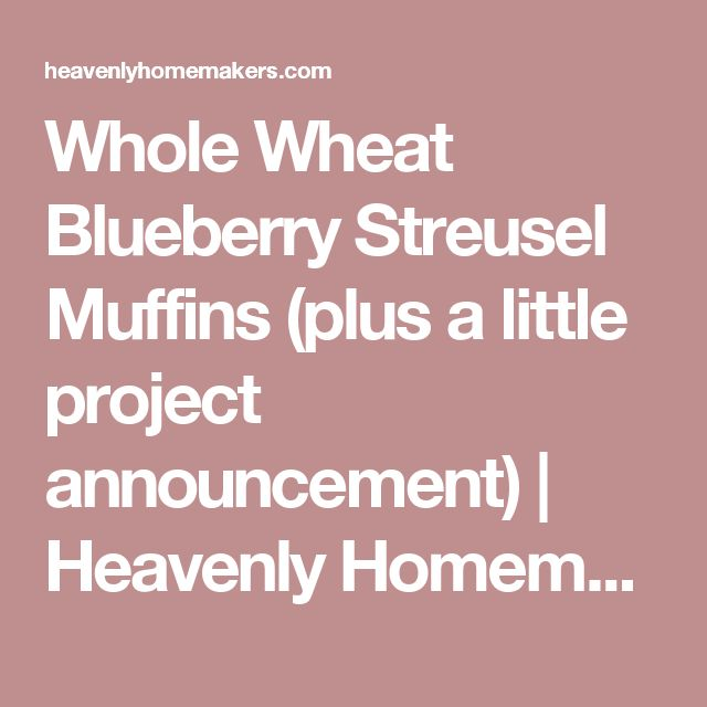 Whole Wheat Blueberry Streusel Muffins (plus a little project announcement) | Heavenly Homemakers