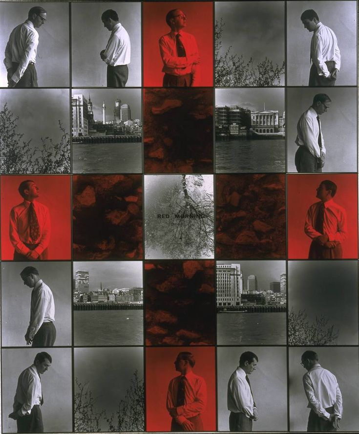 Gilbert & George, 'Red Morning Trouble' 1977 -  25 photographs - black and white with dye on paper mounted onto board.