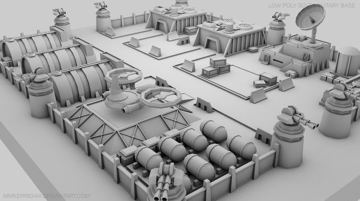 Low Poly / Sci fi Military Base / 02 by MMKerrigan on DeviantArt