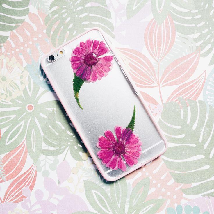 Magenta | Handmade Pressed Flower iPhone Bumper Case | iPhone 6/6s Plus
