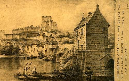 Bridgnorth Castle, As it was before the Cromwellian destruction. In 1646, Cromwell's Roundheads arrived with orders to take Bridgnorth for the Parliamentarians from the garrison led by Sir Robert Howard. Following a three-week siege, Cromwell was successful and he ordered that the castle be demolished. By 1647 little of the structure remained. Brignorth, Shropshire, England