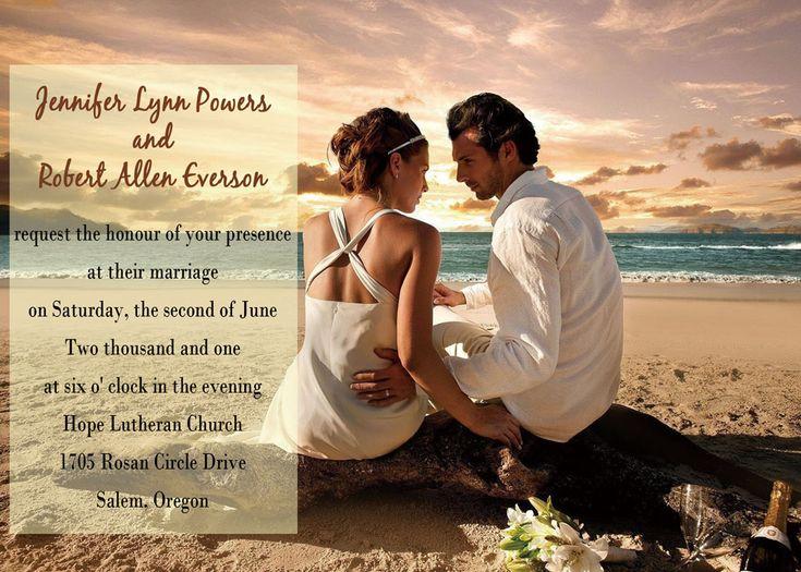 Personalize Destination Wedding Photo Western Beach Invitations EWI133 As  Low As $0.94