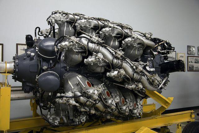 Pratt & Whitney R-4360, 28 cylinder engine, 3500 HP - http://en.wikipedia.org/wiki/Pratt_%26_Whitney_R-4360_Wasp_Major