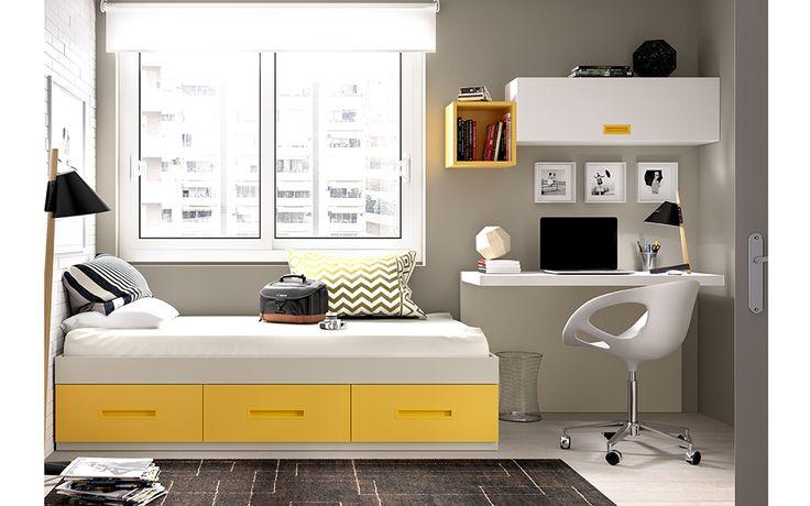 ¡Hola a todos! Hoy os enseñamos esta sencilla composición juvenil con cama nido con cajones, mesa de estudio anclada a pared de 120 cm de ancho y módulos de colgar por solo 595 euros con transporte y montaje gratis