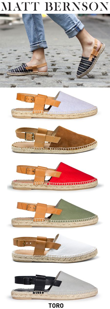 The MATT BERNSON Toro espadrille sandal, Made in Spain in limited edition runs. Memory foam padded insole with napa leather footbed.