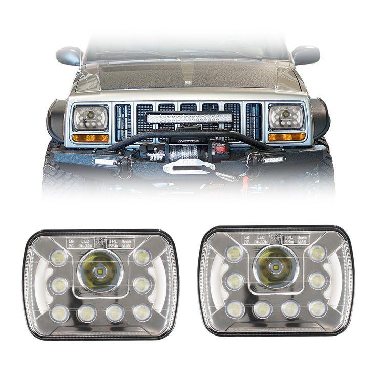 "7x6""/5x7"" Inch Dot LED Headlights With Daytime Running Lights (Pair) - Jeep XJ/YJ"