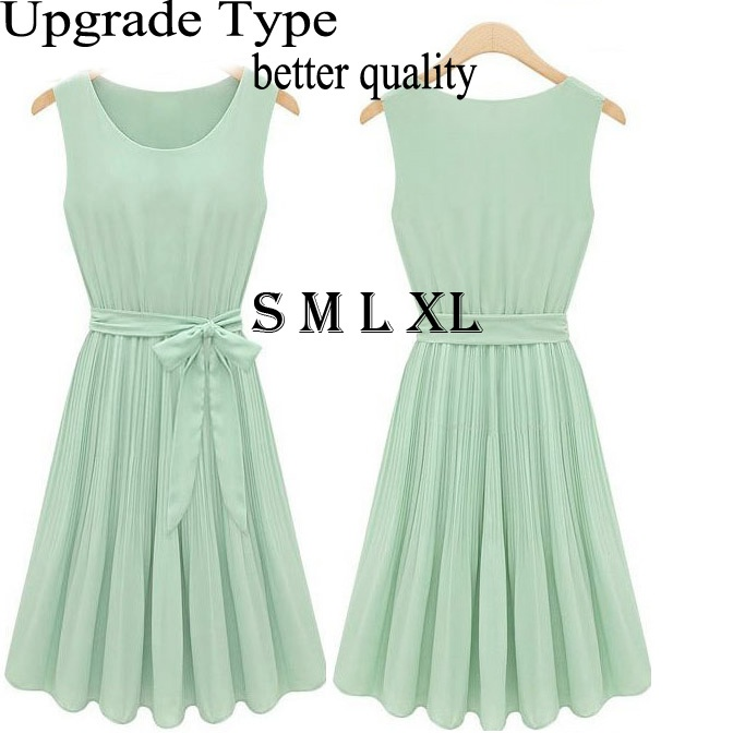 2013 New Summer Active Novelty Mint Green Women Korea High Street Fashion Casual Brand Cute Bow Sleeveless Chiffon pleated Dress on AliExpress.com. 65% off $11.55