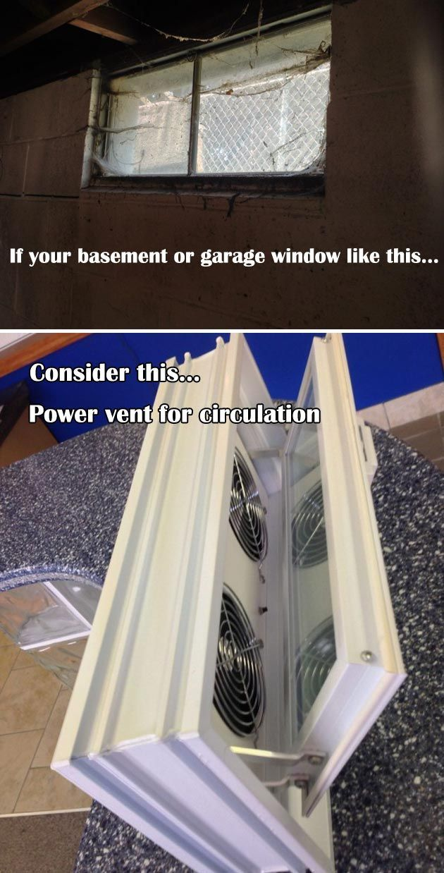 Adding A Power Vent In A Glass Block Window Is A Clever Way To Resolve Bad Circu Adding Bad Block Garage Hacks Basement Remodel Diy Glass Block Windows