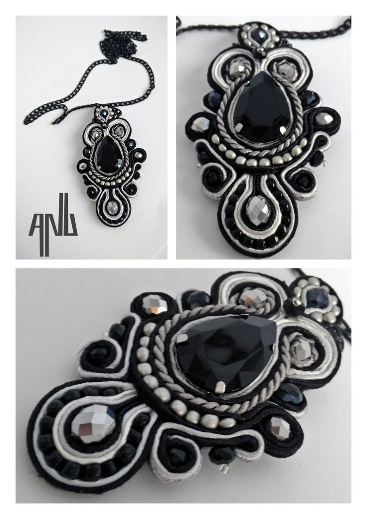 Handmade ANU Jewelry Soutache Pendant Black Gray