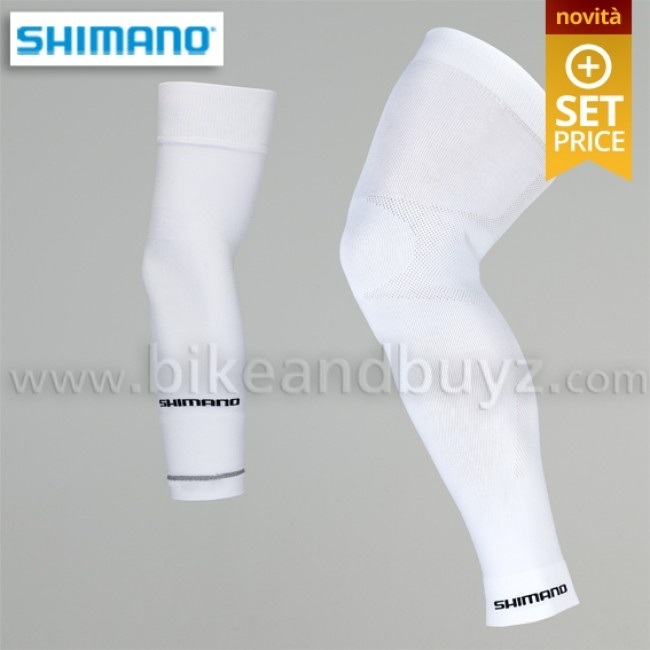 Shimano seamless kit: cycling arm warmer and leg warmer white. Set manicotti e gambali shimano seamless bianchi.    #cycling #ciclismo #shimano