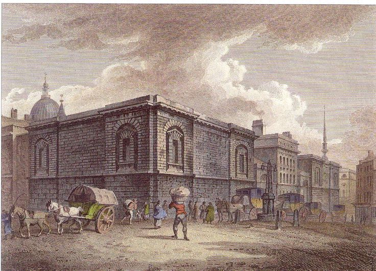 Newgate Prison.  Hangings were moved from Tyburn Gallows to outside the prison walls in 1783.