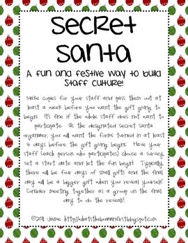 Build your staff culture by participating in Secret Santa gift giving fun! You can do as many or as little of small gift giving days and a final large gift day for the big reveal! If you are the organizer, it's totally up to you! Use this festive form with your staff and have a ball!