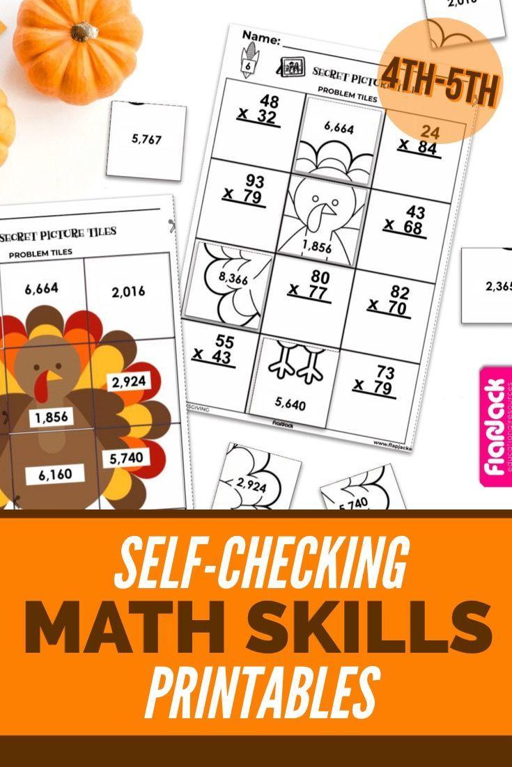 Thanksgiving Math 4th 5th Secret Picture Tile Printables Thanksgiving Math Math Math Worksheets [ 1102 x 735 Pixel ]