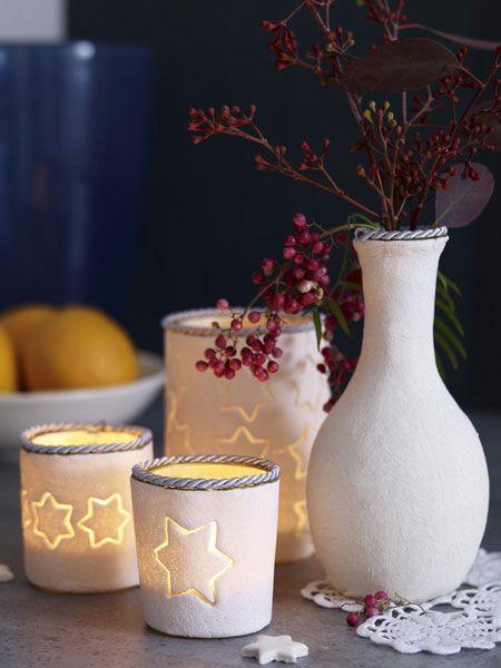 Teelichter und Vasen aus Salzteig selber machen