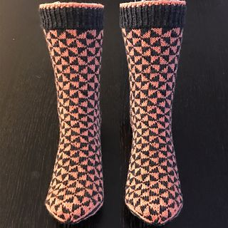 Inspiration found in a pattern for quilting. A pair of socks is 83 grams