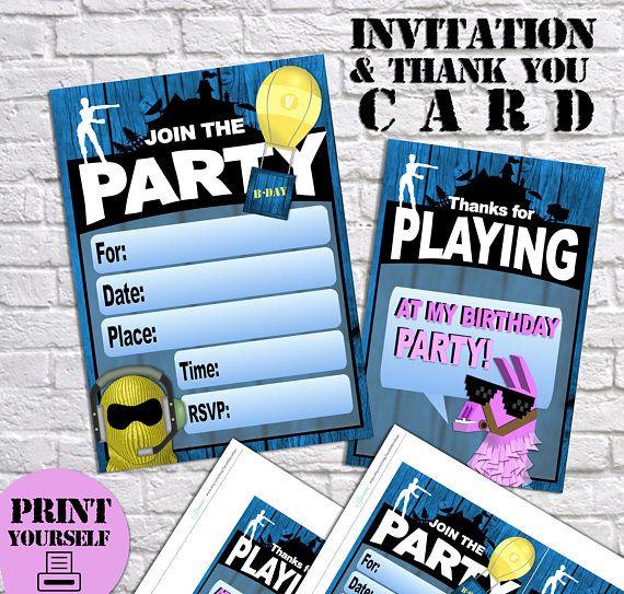 Printable Fortnite Party By Sarahmariekays Geburtstag Karte
