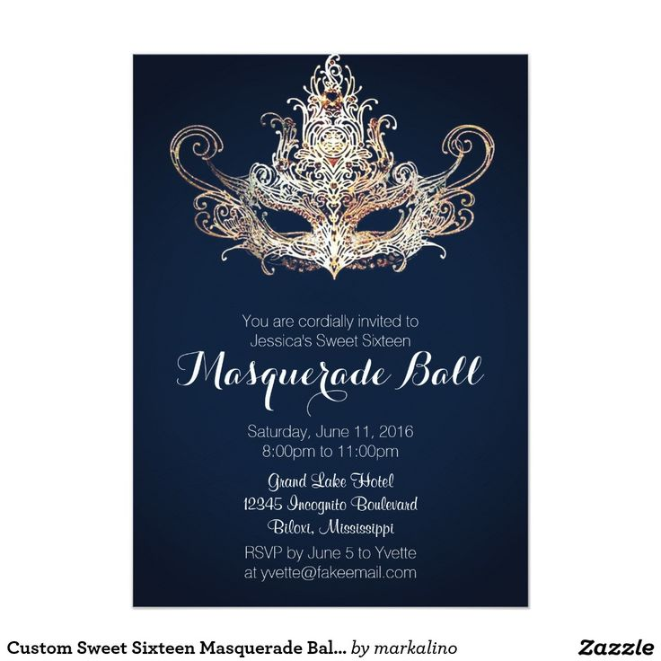 The 354 best zazzle invitations images on pinterest zazzle custom sweet sixteen masquerade ball navy 5x7 paper invitation card stopboris Choice Image