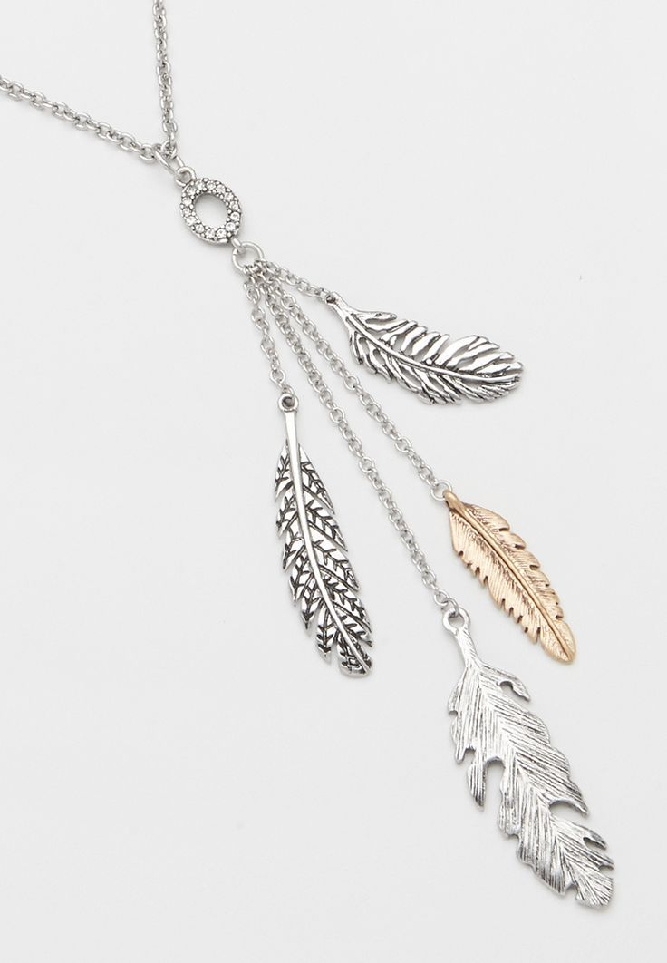 mixed metal feather pendant necklace (original price, $16.00) available at #Maurices