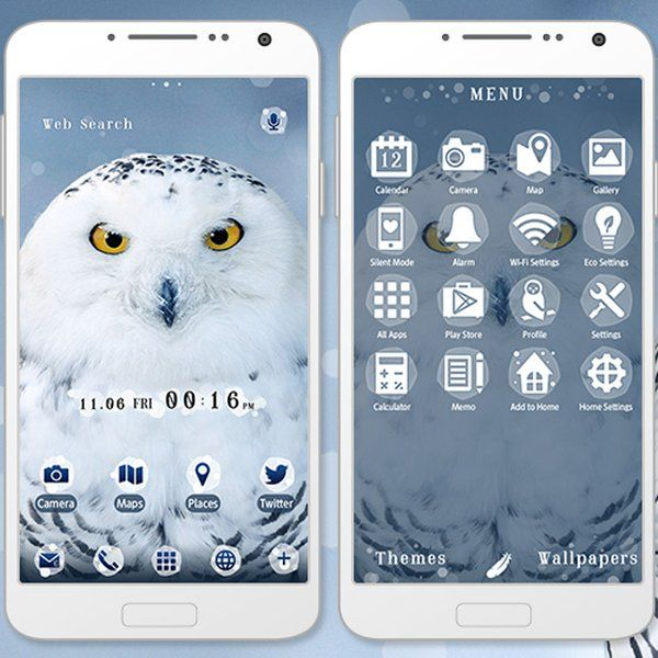 """Snowy Owl"" 11/13 Bring this cute, cool owl to your smartphone! The fluffy fur is sure to melt your heart even in the cold winter season. http://app.android.atm-plushome.com/app.php/app/themeDetail?material_id=1366&rf=pinterest #cute #wallpaper #love #kawaii #design #icon #follow #beautiful #plushome  #homescreen #widget #deco #owl"