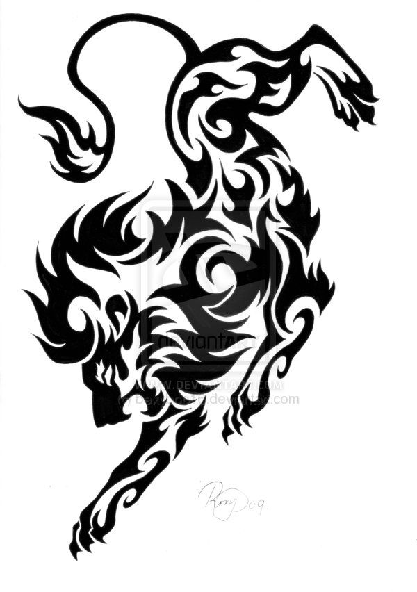 Tribal Lion Tattoo Design by ~bexyboo16 on deviantART  Something like this would be cool!