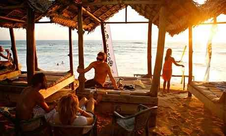 A beach bar in Hikkaduwa, Sri Lanka.