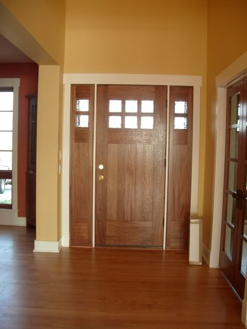 White Trim With Wood Doors | ... Our Front Door Is Stained And Trimmed