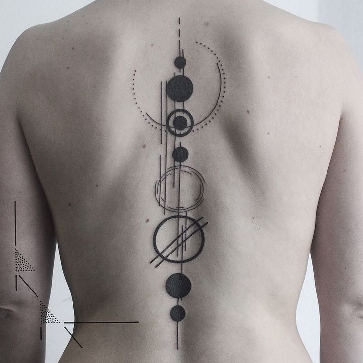 Minimal solar system back piece.  It was Franziska's first tattoo! And she sat…
