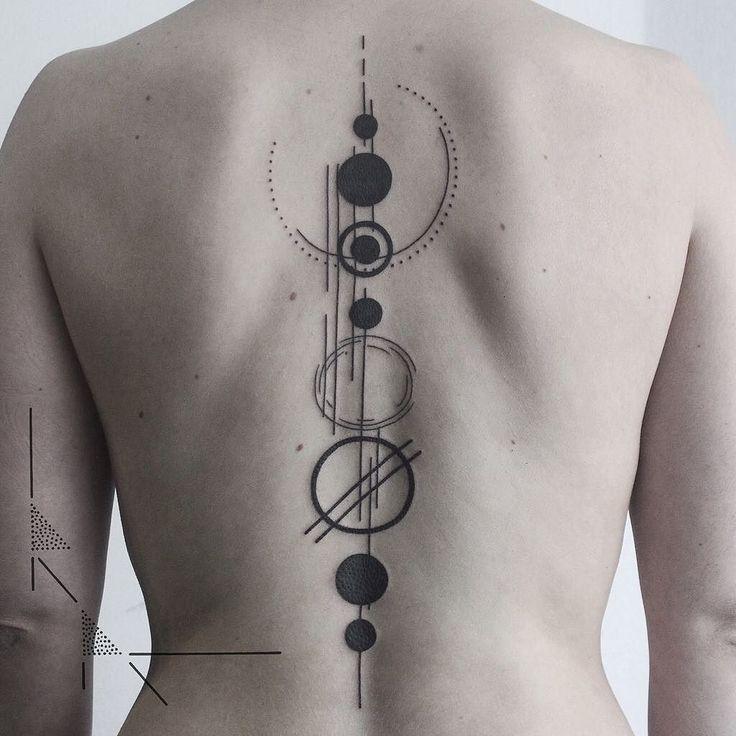Minimal solar system back piece.  It was Franziska's first tattoo! And she sat…