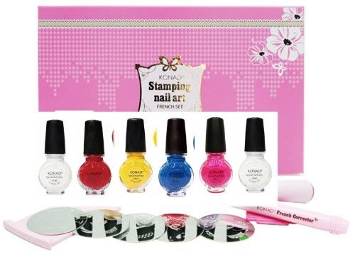 Konad Nail Art Starter Premium Vibrant French Manicure Set: 5 Image PLates M19, M45, M56, M77, M80 + Clear Top Coat + 5 Special Polishes Red, White, Yellow, Psyche Pink, Blue Pearl + 2 Way Stamper + Scraper + Image Plate Holder + Nail Corrector Pen $69.99