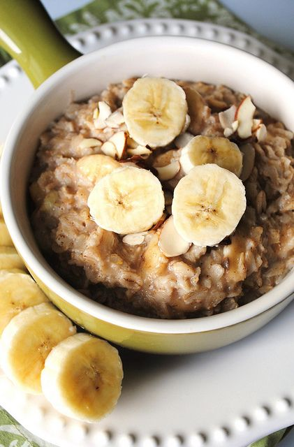 Overnight Crockpot Cinnamon Banana Oatmeal - could use on Daniel fast without the dairy or brown sugar. Maybe make your own nut butter and use dates to sweeten?