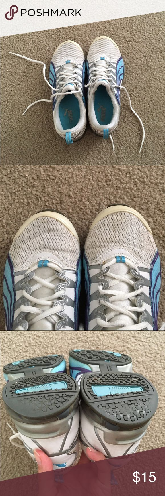 FINAL PRICE Puma tennis shoe Freshly laundered. Couldn't get rid off the front dirt/stain thingy. Please view pictures closely to look at the wear and tear. No trades. Thanks. Puma Shoes Athletic Shoes