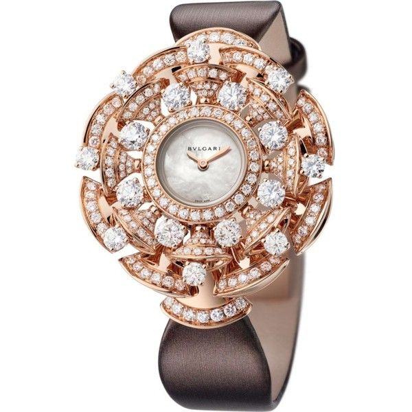 BVLGARI Divas' Dream 18kt pink-gold, Mother of Pearl and diamond watch ($66,860) ❤ liked on Polyvore featuring jewelry, watches, diamond wrist watch, diamond watches, rose gold wrist watch, quartz movement watches and white jewelry