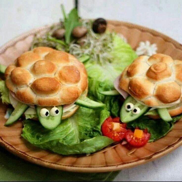 Fun food for kids Healthy food Turtles sandwich Bocadillo en forma de tortuga Comida sana saludable para niños