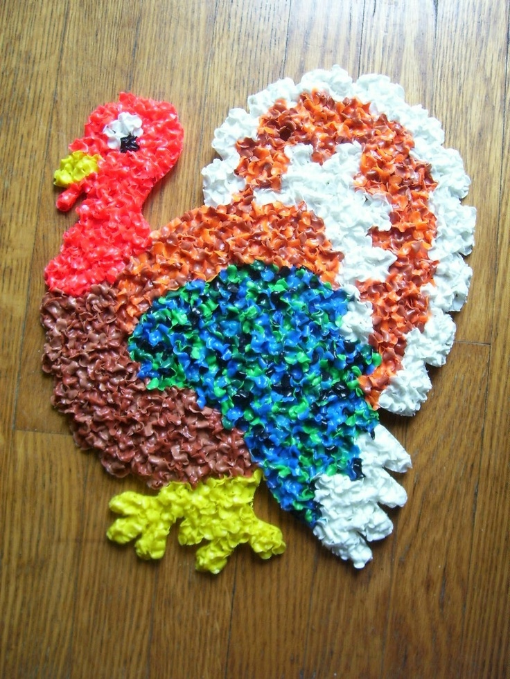 Vintage thanksgiving turkey melted plastic popcorn decoration for 70s decoration ideas