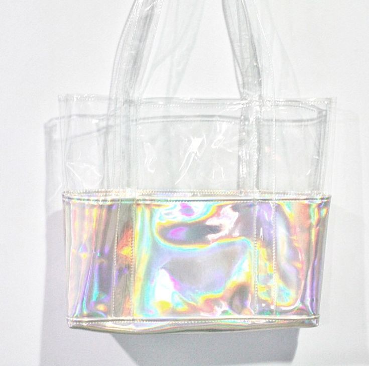 Holographic Clear Tote Half Transparent Hologram Shoulder School Leather Beach…