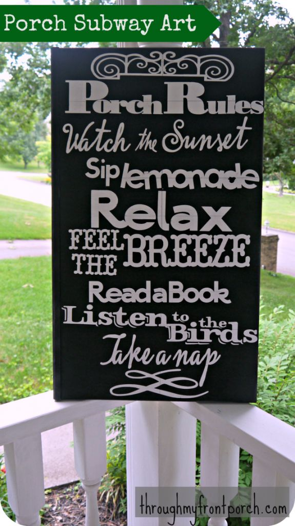 I have created a few different subway art signs using my Cricut, vinyl and spray paint. They are lots of fun to make, cheap and can be seasonal. When I saw the Porch Rules signs on Pinterest I knew I had to make one. Using the leftover piece from a hollow door that was used …