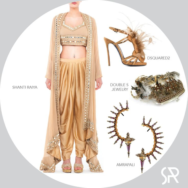 Tap into your inner #Bohemian Flare.  Shanti Raiya's Gold mirror work Jacket Pants combo with DSQUARED2 feather sandals + pheasant feather clutch by Double S Jewellery.  Elevate it a notch with a pair of Fierce ruby spikes by Amrapali Visit us at : www.shanti-raiya.com